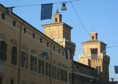 Ferrara flags and castle.
